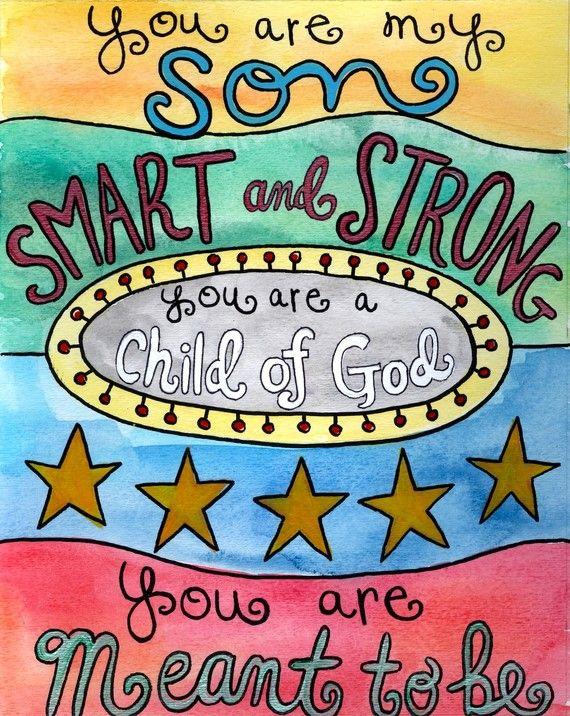For my Son, Christian Art, Art for Boys, Childrens Art, God, Nursery Decor, Kid Decor, 11 x 14, 8 x 10