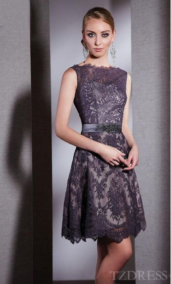 Elegant Light Slate Gray Lace Short Empire Sleeveless Prom Dress Cheap tzdress3965