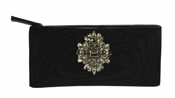 Black Bruggle Bead Embellished Clutch These beautiful beaded evening clutch purses are hand made with exceptional detail and satin lining.