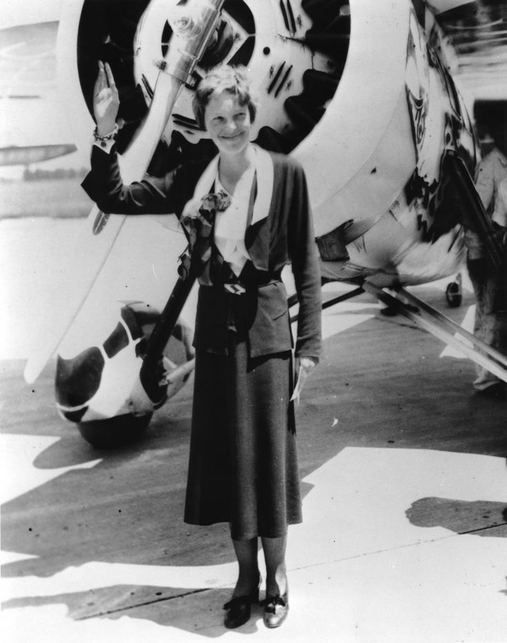 Amelia Earhart, one of the bravest women in history.  An avid flyer, she was lost over the ocean and her whereabouts remain a mystery.