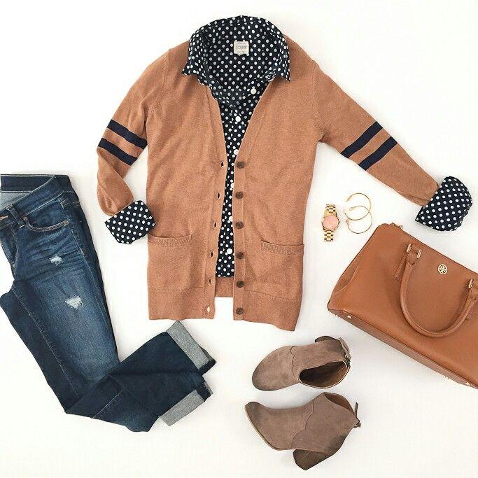 Верблюжий кардиган+блузка в горошек и джинсы. Купить блузку