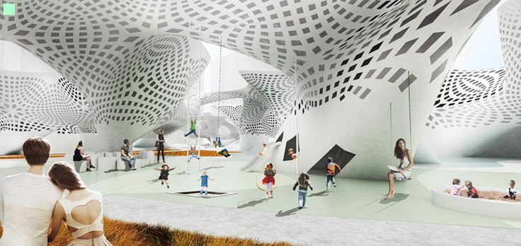 SA lab shapes undulating isosurface for multifunctional public complex - designboom | architecture