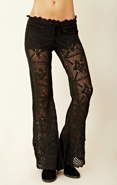 Black Crochet Pants