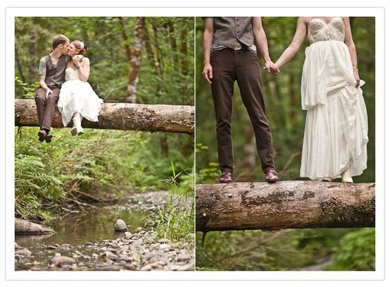 Take a picture on a log above a stream