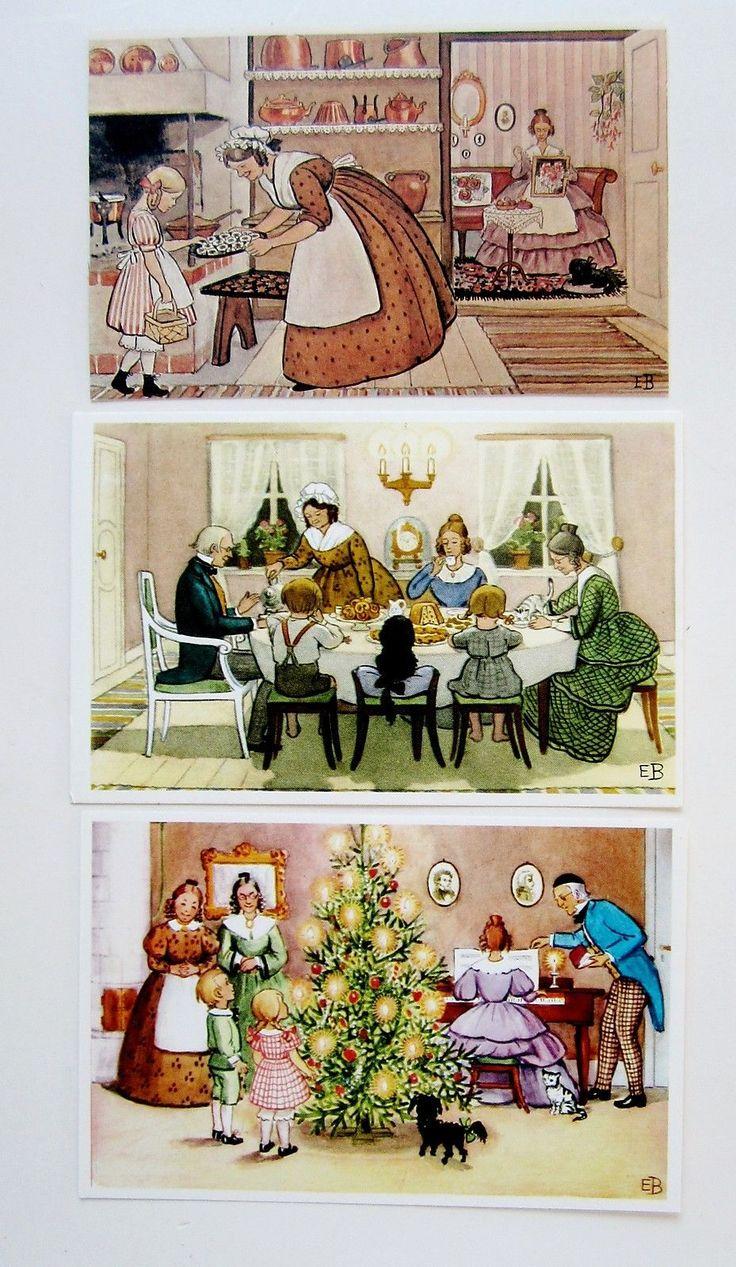 lot 3 elsa beskow christmas family scenes postcards sweden. Black Bedroom Furniture Sets. Home Design Ideas