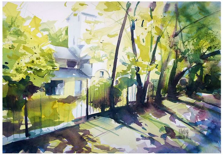 Park in Pruszkow/ Watercolor 51x36cm/ paper: Saunders 300g