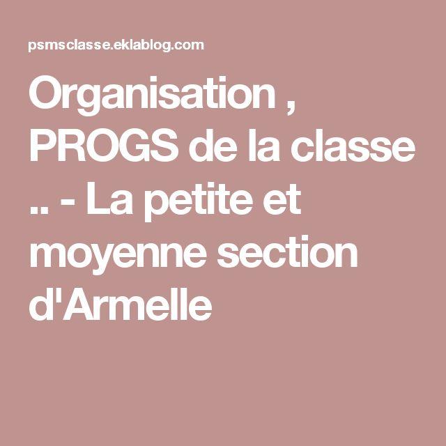 Organisation , PROGS de la classe .. - La petite et moyenne section d'Armelle