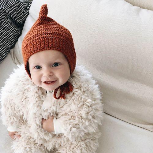Rust merino bonnet