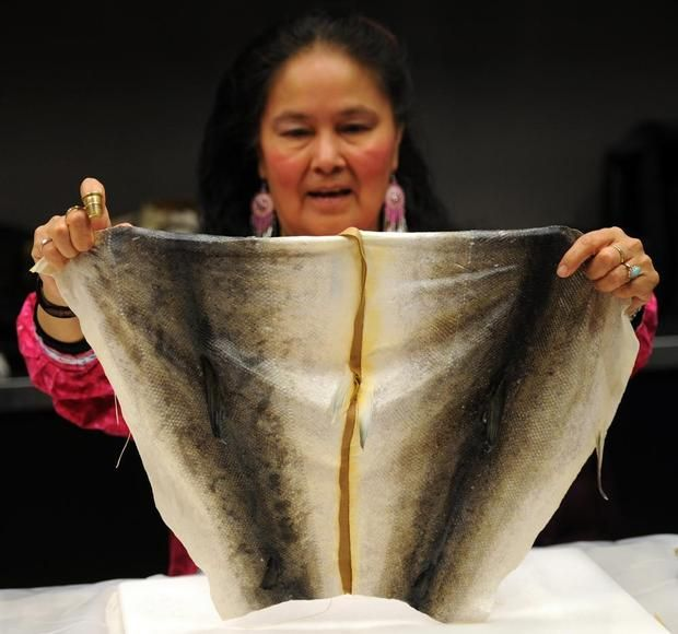 "Fish skin sewing  ""Salmon skin can be tougher than Gore-Tex or as soft as velvet. And everything you need to transform the scaly hide into a workable piece of clothing or art material can be found in your kitchen..."""