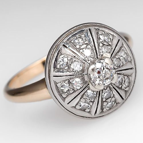 Vintage Domed Engagement Ring w/ Transitional Diamond Solid 14K Gold Jewelry, $1369.00