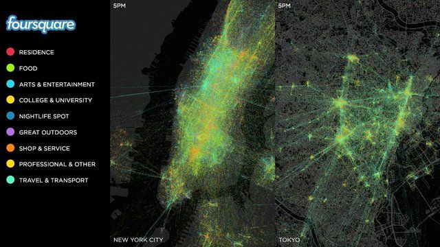 Every day, millions of people check in on Foursquare. We took a year's worth of check-ins in New York City and Tokyo and plotted them on a map.  Each dot represents a single check-in, while the straight lines link sequential check-ins.    What you can see here represents the power of check-in data -- on Foursquare, every city around the world pulses with activity around places every hour of every day.      Related:  Also see our data visualization of four days worth of Foursquare check-ins…