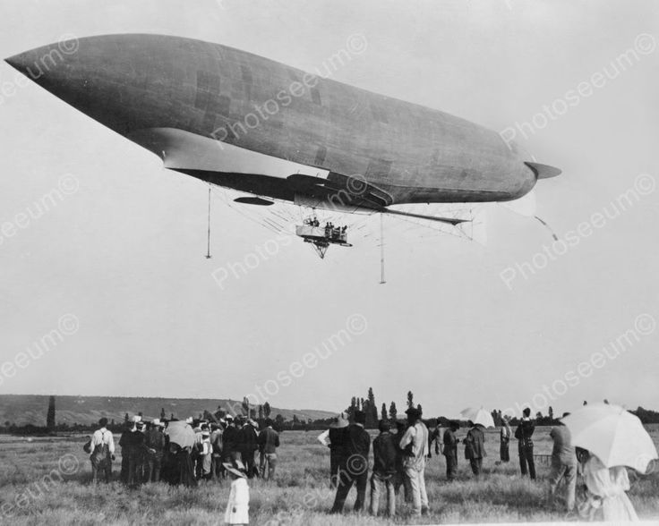 French Military Dirigible In Air 1900s 8x10 Reprint Of Old Photo