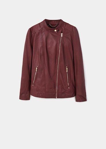 Jachetă scurtă de piele cu fermoar