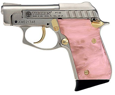 Taurus PT-22 Small Frame 22 LR Pistol in Nickel W/Gold Highlights Finish: Stuff, Beautiful Queens, Pearls, Weapons, Bangs Bangs, Pink Guns, Things, Pistols, Taurus