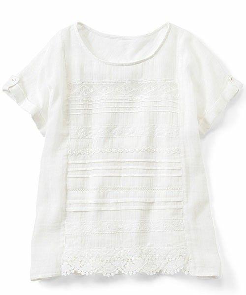 【ZOZOTOWN】IEDIT(イディット)のシャツ/ブラウス「リブ イン コンフォート ぜいたくレース遣いの ダブルガーゼホワイトトップス  」(455545)をセール価格で購入できます。