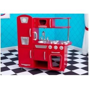 De rode vintage keuken van Kidkraft is het ideale geschenk voor de jonge chef-koks. De deuren kunnen open, knoppen kunnen draaien en klikken en de gootsteen kan makkelijk verwijderd worden om schoon te maken. Er is zelf een draadloze telefoon aanwezig in de keuken!
