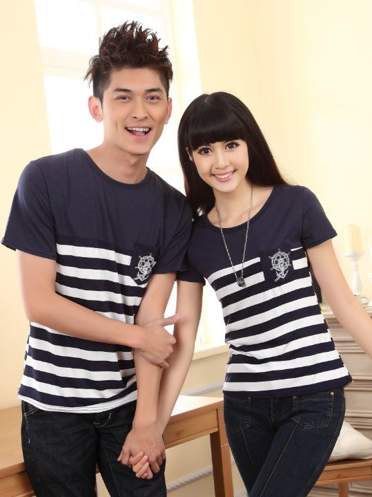 Spring Striped Pattern Color Block Cotton Couple Tee