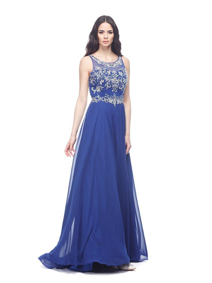 Abito da cerimonia Delsa, linea Ambra Cerimonia 2016 C9660 Chiffon e ricamo Colori: Royal blu - Smeraldo  #delsa #delsa2016 #ambracerimonia #chiffon #ricamo #royalblu #smeraldo