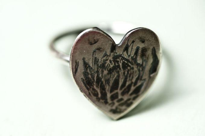 Sterling Silver protea Heart Ring by Natasha Wood Jewellery on hellopretty.co.za