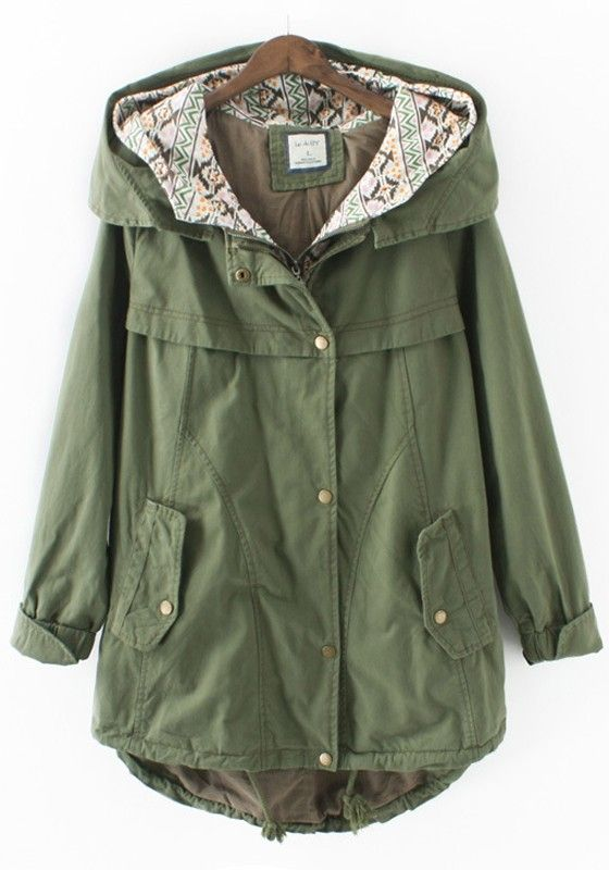 Army Green Plain Drawstring Trench Coat Great clothes at Great Prices!!!