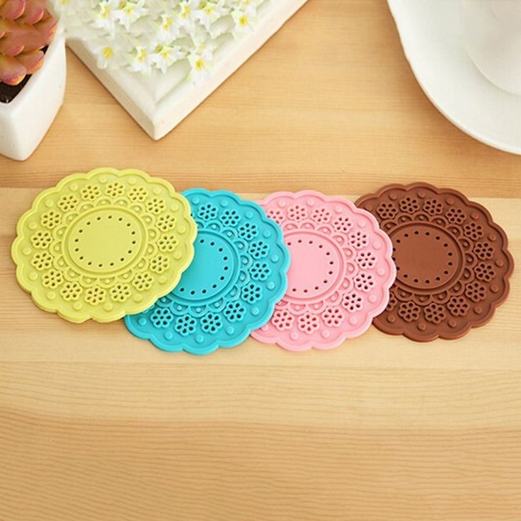 Hot Table Mat Lace Round Silicone Coaster Hollow Perfector Insulation Pad Random #Unbranded