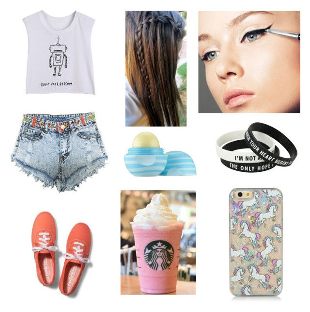 """""""Average 15 Year Old Teenager At Starbucks"""" by hunnybun15-1 ❤ liked on Polyvore featuring Keds and Eos"""