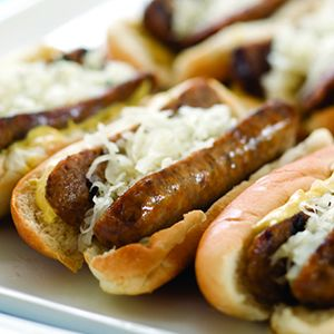 Beer Brats. I put garlic cloves and sliced onions in the boiling beer for added flavor, no grilling necessary. Yum