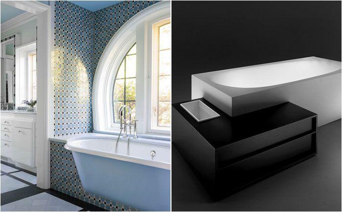 Если же хочется совместить красоту отдельно стоящей ванны и встроенной модели с поверхностью, на которой можно удобно поставить мыло и другие принадлежности, то стоит задуматься о частично встроенных ваннах. Такая форма буде удобна и для монтажа в ванной комнате с ограниченным пространством. Оно даст возможность использовать и дополнительные элементы.