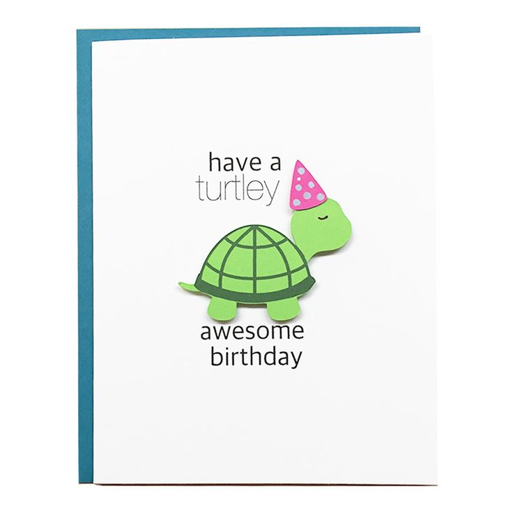 This adorable card is perfect for anyone in your life that loves a ridiculously cute turtle. And who doesn't?! Great for any age or gender. THE DETAILS • CARD: folded - 4.25in x 5.5in • ENVELOPE : tea
