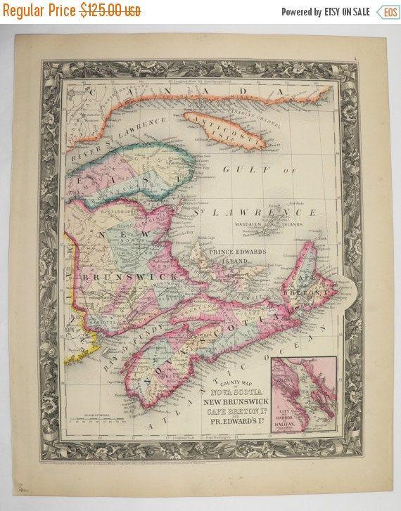 1860 Antique Map Nova Scotia Canada Map New Brunswick Cape Breton Island Map Prince Edward 1860 Mitchell Map, Unique Wedding Gift for Couple available from OldMapsandPrints.Etsy.com #NovaScotia #NewBrunswick #CapeBretonIsland #PrinceEdwardIsland