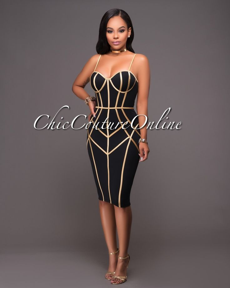 Chic Couture Online - Alessandra Black Gold Trim Padded Dress.(http://www.chiccoutureonline.com/alessandra-black-gold-trim-padded-dress/)