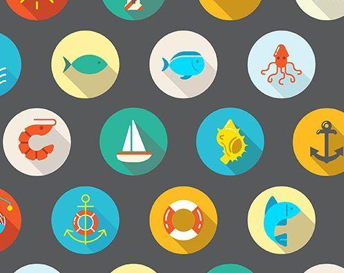 22 iconos mar planos