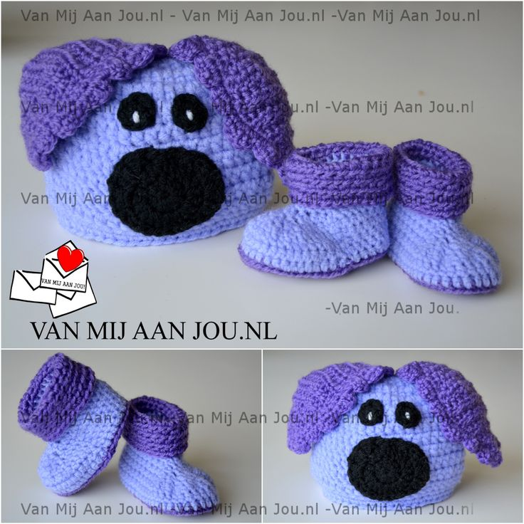 newborn baby en peutermaat - voor meisjes en jongens - woezel muts met slofjes - muts op bestelling gehaakt - met de hand op maat en kleur gehaakt - www.vanmijaanjou.nl -