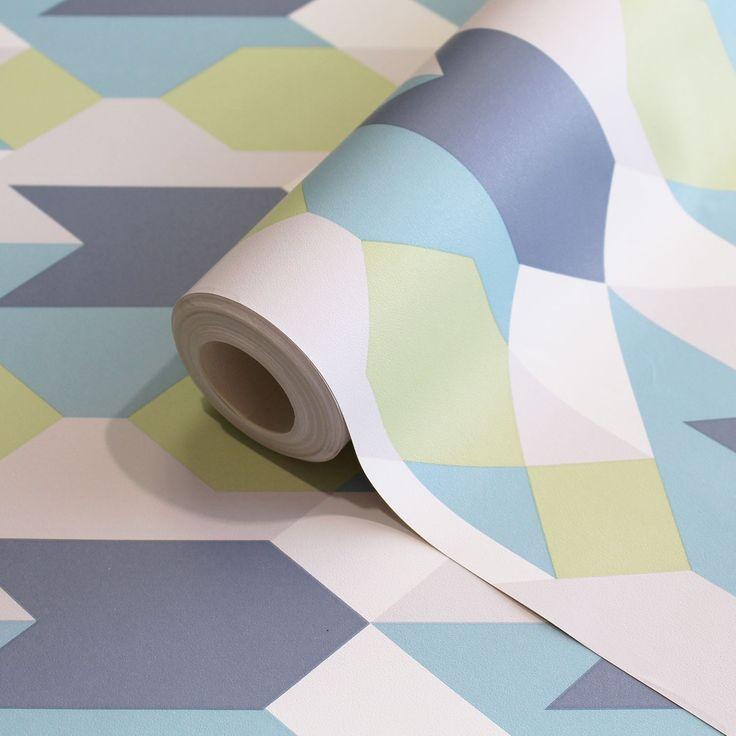 Copenhagen Blue/Green Geometric Wallpaper