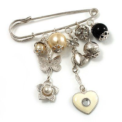 'Heart, Butterfly, Flower & Bead' Charm Safety Pin (Silver Tone) Avalaya. $24.75. Gemstone: faux pearl. Metal Finish: rhodium plated. Collection: heart, pearl. Theme: heart. Occasion: anniversary, cocktail party, casual wear