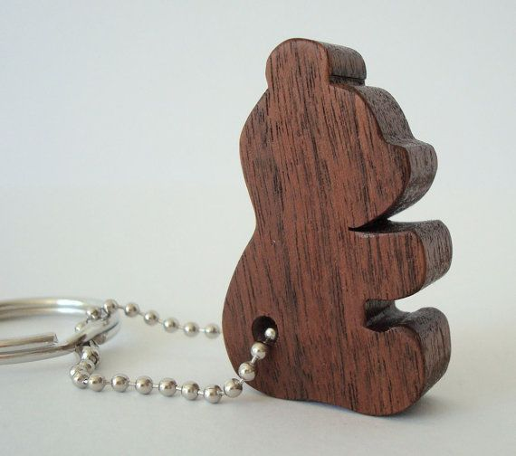 Teddy Bear Silhouette Key Chain Wood Scroll Saw Outline Keychain