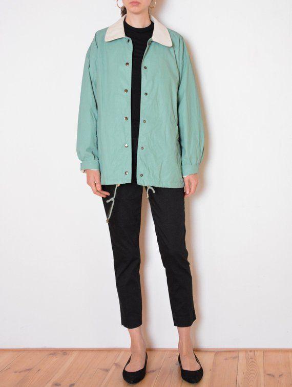 Vintage Green Jacket  Vintage Retro Green Coat  Mid Length Green Jacket  Mint Green Vintage Coat