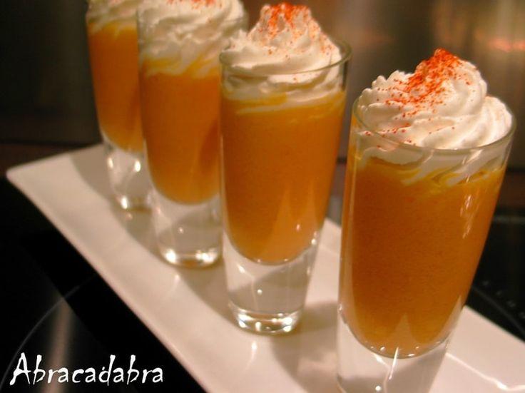 Verrines de cappuccino glacé carottes et cumin