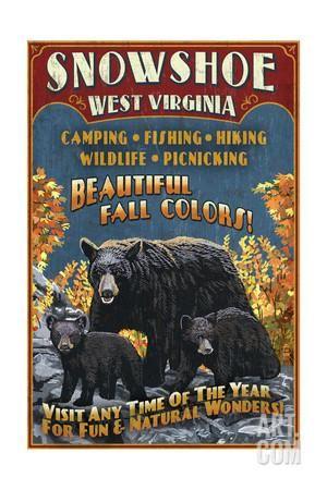 Snowshoe, West Virginia - Black Bear Vintage Sign Art Print by Lantern Press at Art.com