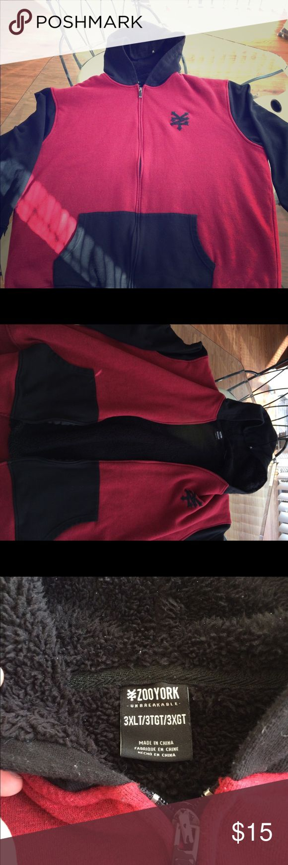 Zoo York Big n Tall Hoodie Zoo York 3XL Red and Black Hoodie with Black Fur Interior Great Condition - Very Well Kept Zoo York Sweaters Zip Up