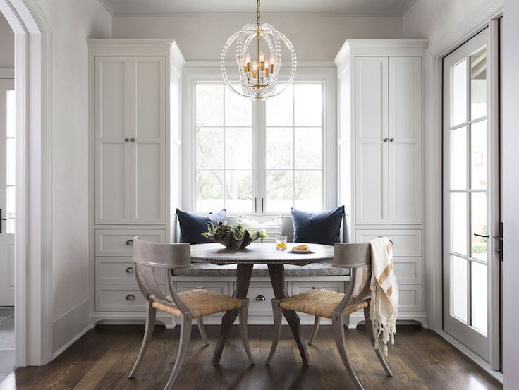 Klismos Dining Chairs, Transitional, Dining Room- white walls, white trim, dark floors, light chairs