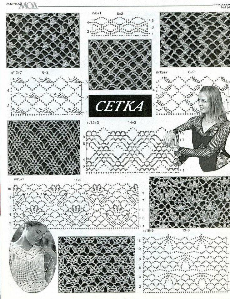 Косая сетка крючком - описание и виды сеток со схемами
