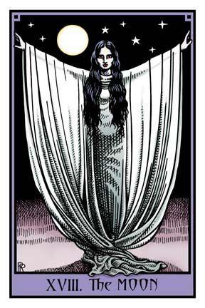 The Moon card from Robert Place's Vampire Tarot deck
