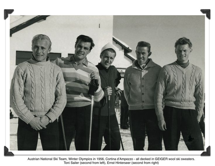 Austrian National Ski Team, Winter Olympics 1956, Cortina d'Amprezzo, wearing GEIGER wool ski sweaters made for the special occasion.   Second from left: Toni Sailer  Second from right: Ernst Hinterseer  others not known by name