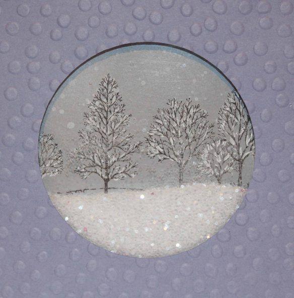 Snow Globe Card with sparkles.  :-)
