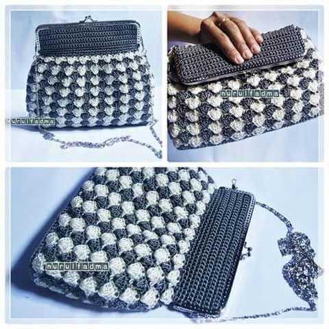 Crochet frame purse
