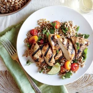 Herbed Wheat Berry and Roasted Tomato Salad with Grilled Chipotle Chicken Breasts | MyRecipes.com