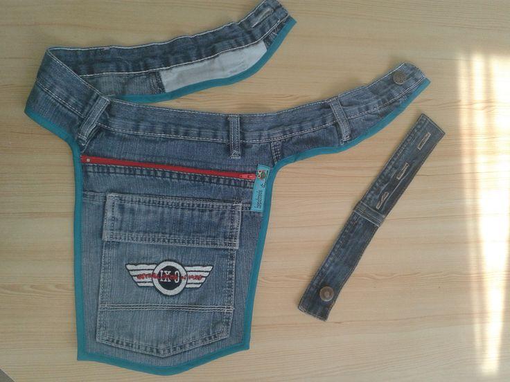 Hüfttasche aus alter Jeans mit Erweiterungsmöglichkeit