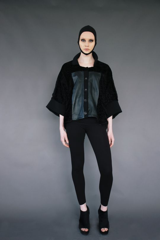 Faux fur leather jacket www.maurizio.gr