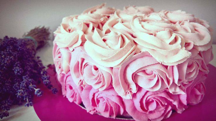 Ombré Rosette Cake White chocolate, coconut  and Raspberry mousse. https://www.facebook.com/Karmelkowy-zakątek-Z-pasji-do-wypieków-Cake-passion-1844109082573556/?ref=aymt_homepage_panel